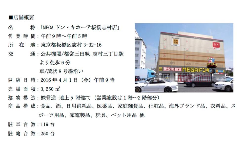 MEGAドン・キホーテ板橋志村店オープン!4月1日