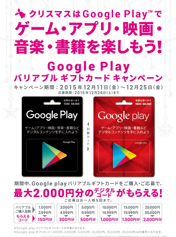 『Google Playデジタルコード』をプレゼント!Google Playバリアブルギフトカードキャンペーン対象カード購入者のみ